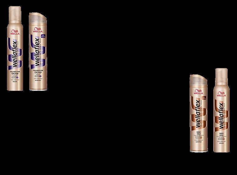 Produkty z serii Wellaflex Fullness For Fine Hair i Wellaflex Shiny HolP