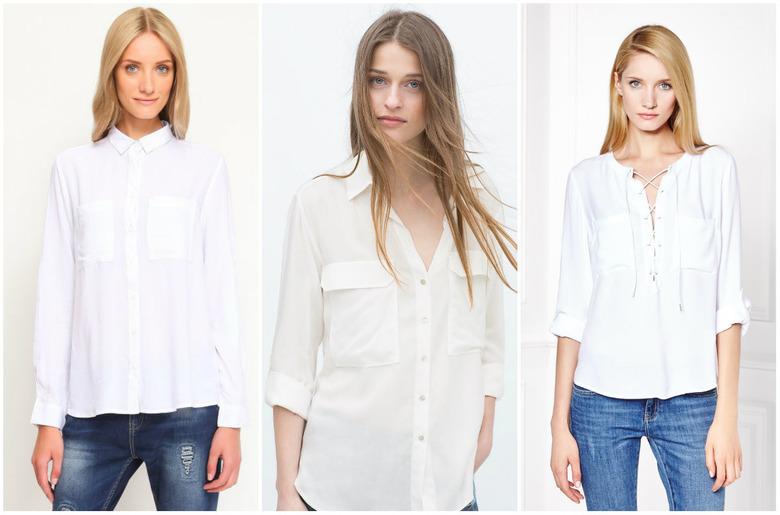 biała koszula damska z kieszeniami