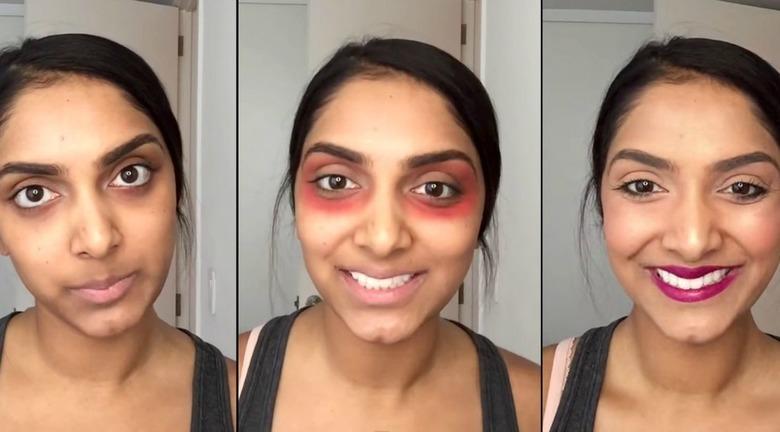 Deepica Mutyala czerwona szminka pod oczami