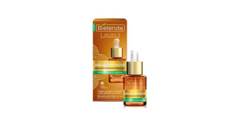 Kosmetyki na zimę: arganowy koncentrat brązujący Bielenda to delikatny samoopalacz do twarzy, który zapewnia zdrowy wygląd