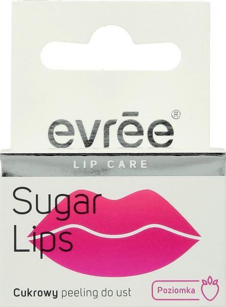 Peeling cukrowy do ust Evree o smaku i zapachu poziomek złuszcza i odżywia przesuszony naskórek, jeśli używasz matowych pomadek