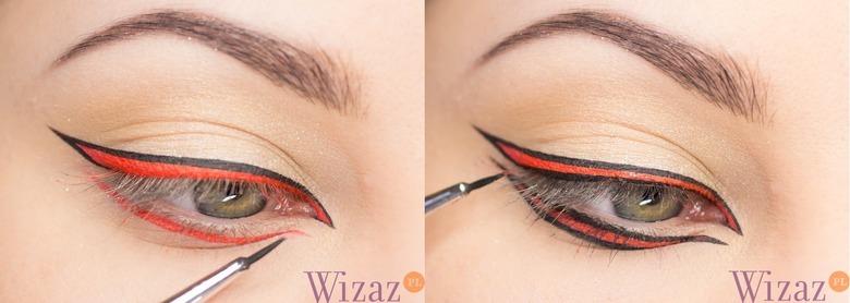 makijaż z pomarańczową kreską, graficzny makijaż, makijaż krok po kroku, makijaż na wiosnę 2014, makijaż na lato 2014