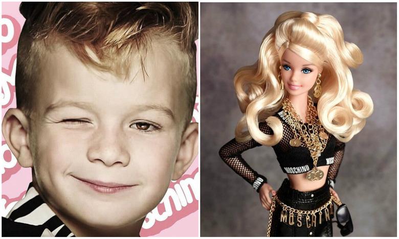 chłopiec w reklamie lalki moschino barbie