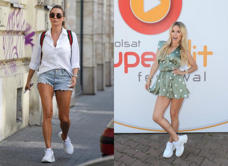 d944a269cefa6 Perfekcyjna postawiła na bardzo casualową stylizację z dżinsowymi szortami i  białą koszulą. Doda natomiast postawiła na sukienkę khaki w groszki.