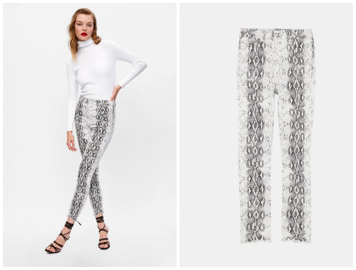 spodnie z wezowym wzorem zara