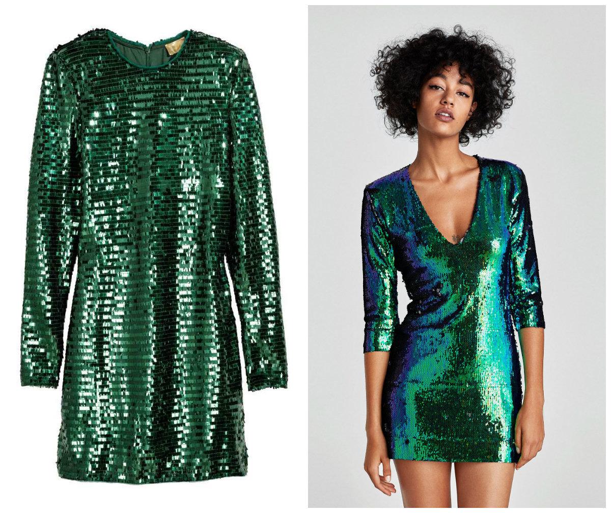 zara zielona cekinowa sukienka
