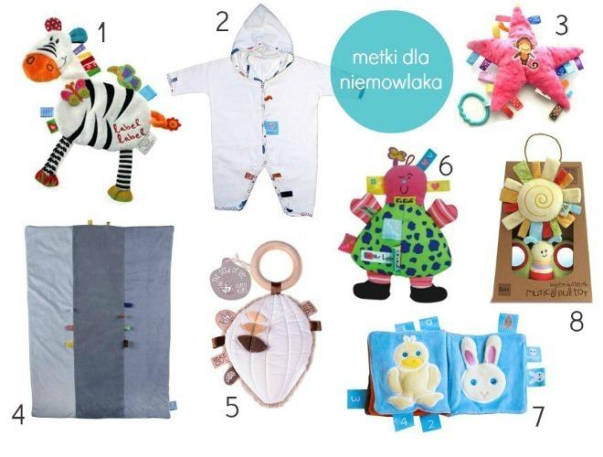 Zabawki i akcesoria z metkami dla niemowlaków