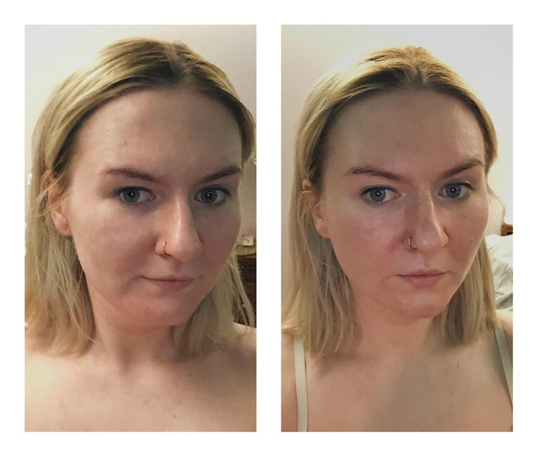 zoga twarzy przed i po