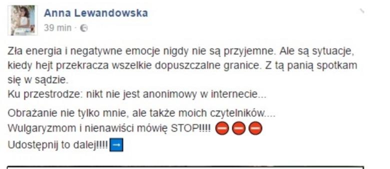 wypowiedź Anny Lewandowskiej
