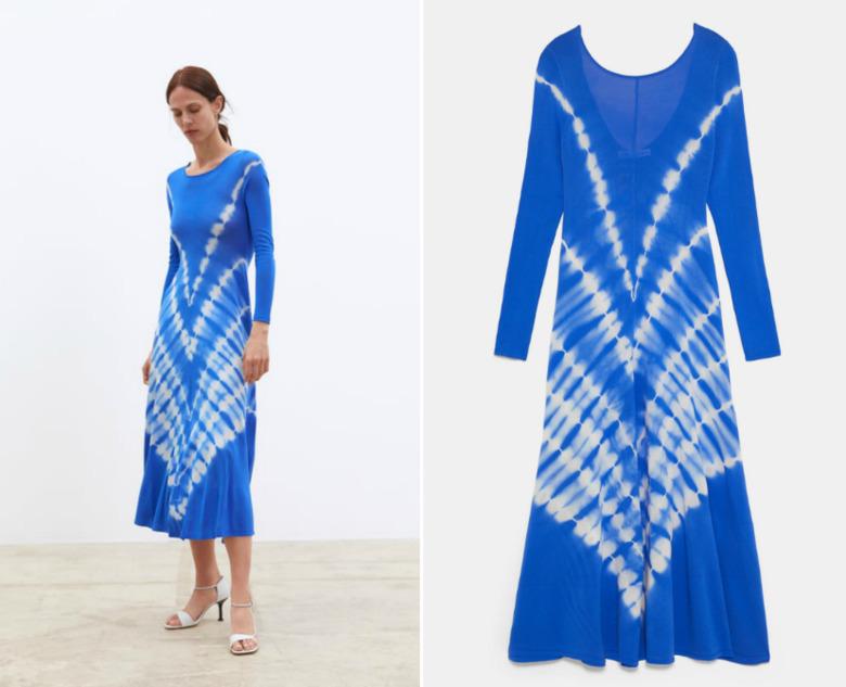 zara niebieskka sukienka z wzorem na dole