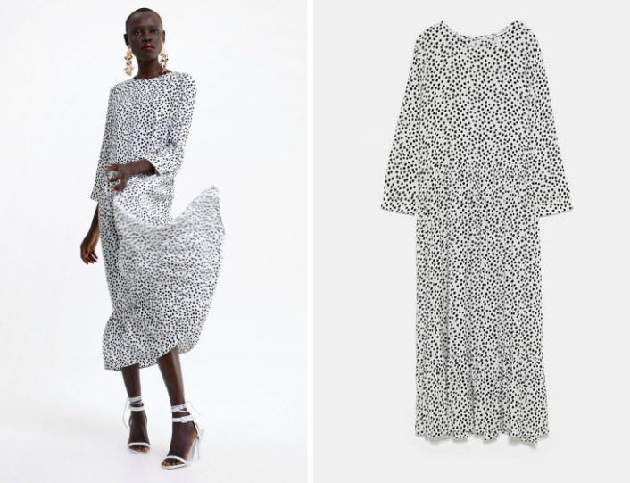 sukienka biała w kropki zara