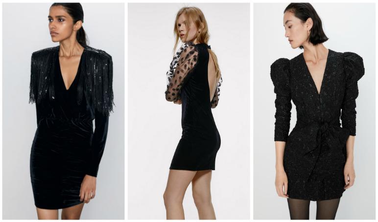 Czarna sukienka na sylwestra przegląd Zara, Mohito, H&M