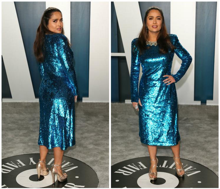 salma hayek vanity fair party niebieska sukienka
