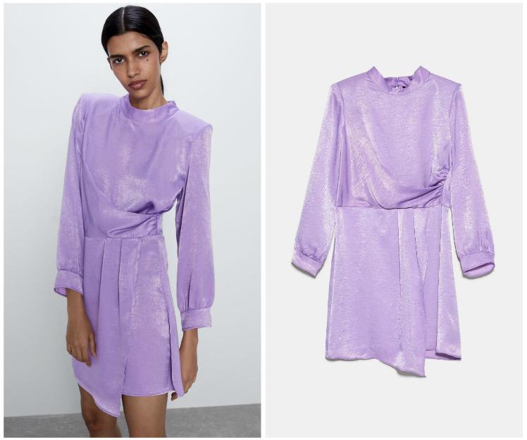 fioletowa sukienka na wiosnę 2020 zara