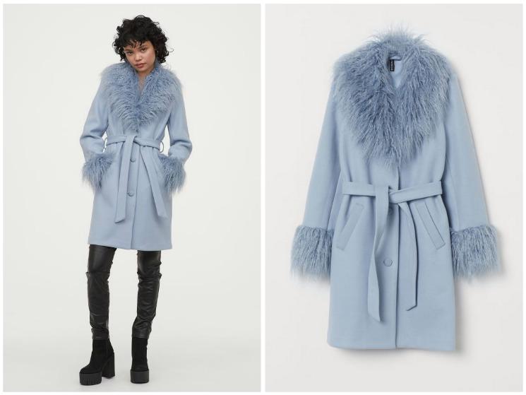płaszcz h&m niesbieski z futerkiem