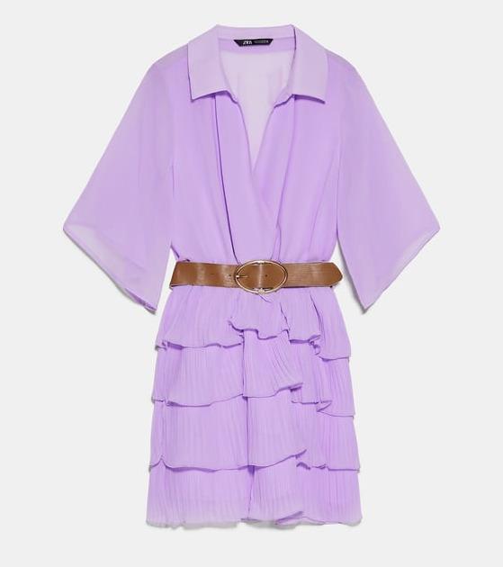 sukienka liliowa zara na wyprzedaży 2020