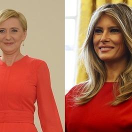 Agata Duda i Melania Trump w czerwonych sukienkach