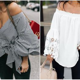 bluzka biała z odkrytymi ramionami koszula w kratkę vichy