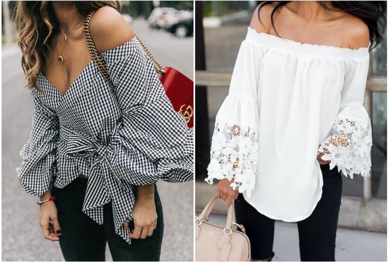 1f45fa9bd2b02e bluzka biała z odkrytymi ramionami koszula w kratkę vichy