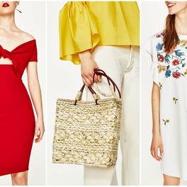 czerwona sukienka słomiany koszyk sukienka w kwiaty zara