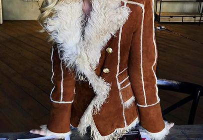 kożuch balmain brązowy z białym futerkiem