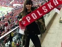Anna Lewandowska kurtka mecz Polska-Łotwa