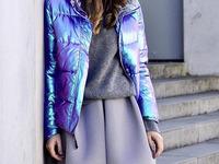 metaliczna kurtka mohito niebieska błyszcząca