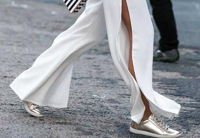 złote trampki buty sportowe stylziacja