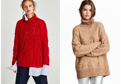 czerwony sweter beżowy sweter z golfem