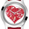 czerwony zegarek z sercem, guess