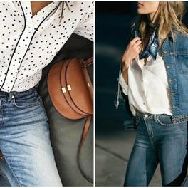modne sprane ciemne dżinsy stylizacja