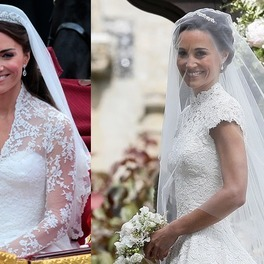 Kate Middleton i Pippa Middleton w sukniach ślubnych