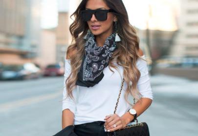 modnie ubrana dziewczyna stylizacja kręcone włosy fale
