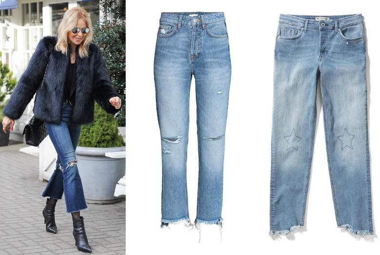 Maja Sablewska na spacerze w dżinsowych spodniach z rozdartymi nogawkami i czarnej kurtce