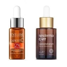 kosmetyki z witaminą C kolaż czterech produktów Be Ceuticals Sesderma Eveline The Body Shop