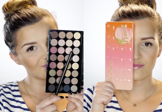 Wizażystka z paletą too faced i paletką makeup revolution