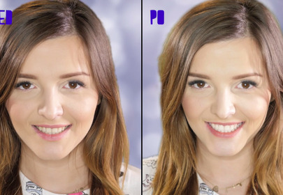 Dziewczyna uśmiecha się i pokazuje efekt przed i po wybielaniu zębów domowym sposobem