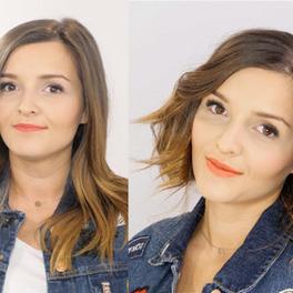 fryzura przed i po - z długich włosów zrobiona krótka fryzura