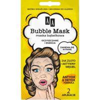 AA, Bubble Mask, Maska bąbelkowa na twarz `Oczyszczanie i energia - 24K złoto i węgiel aktywny`